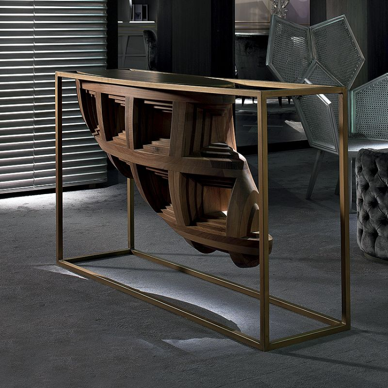 Contemporary Console Tables For Your Living Room contemporary console tables Contemporary Console Tables For Your Living Room sculptural console table walnut