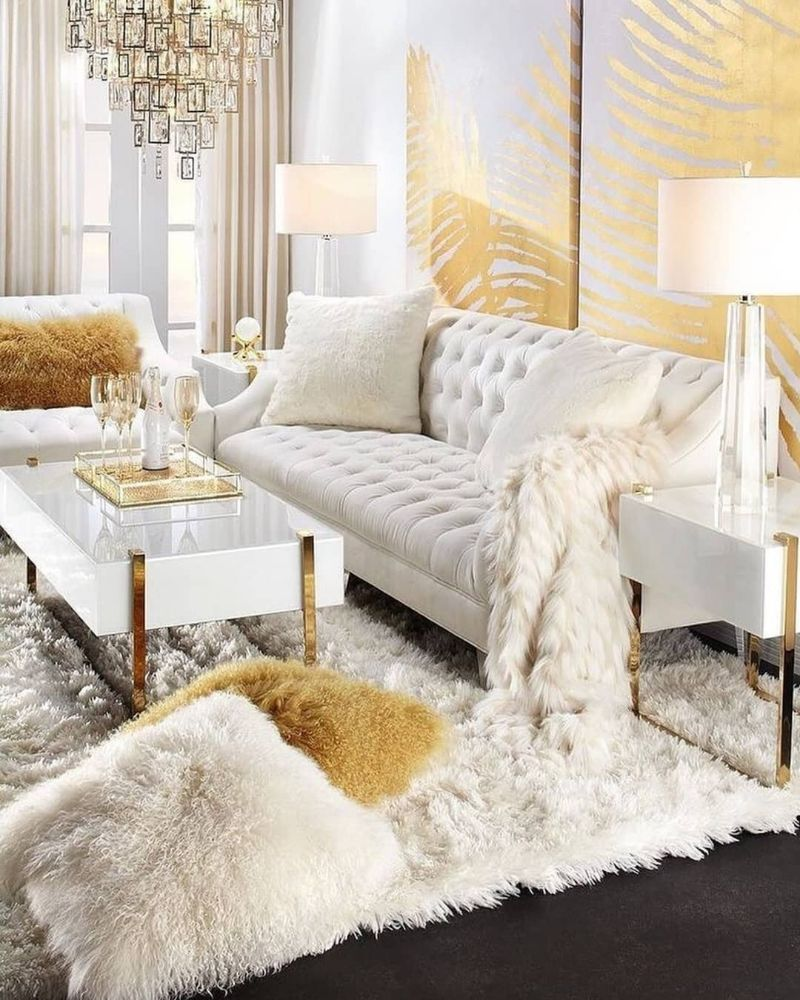 living room furniture Trendy Colors for Living Room Furniture white gold