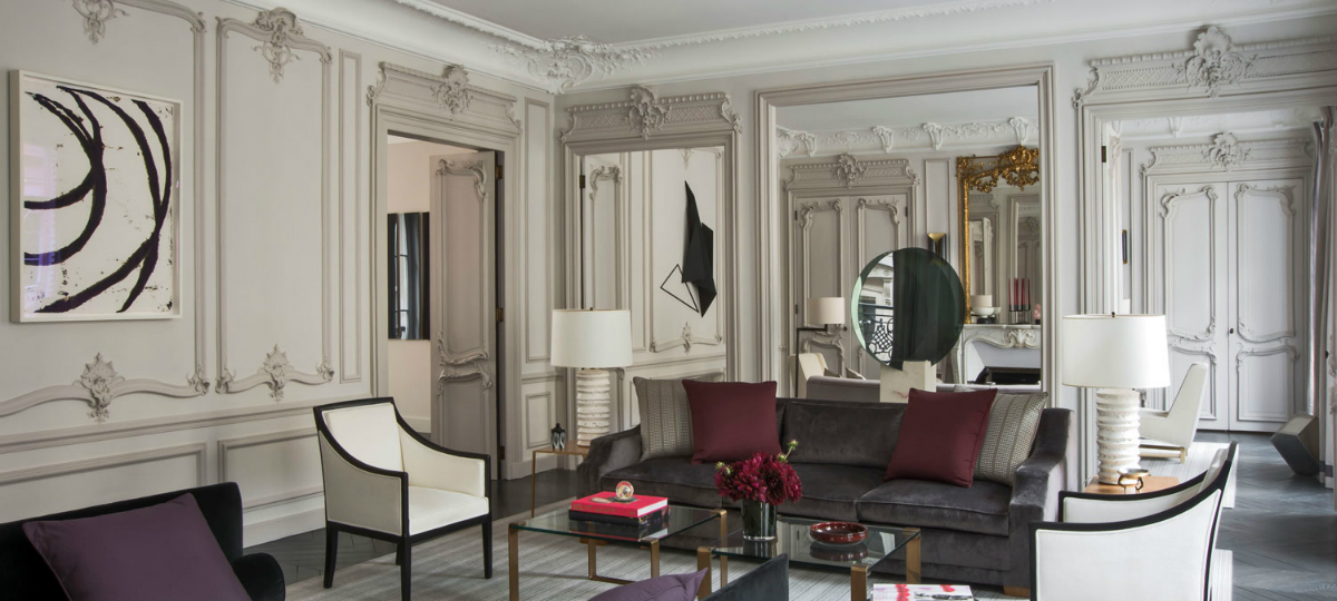 living room Elegant Entryway and Living Room Designs by Champeau & Wilde 4