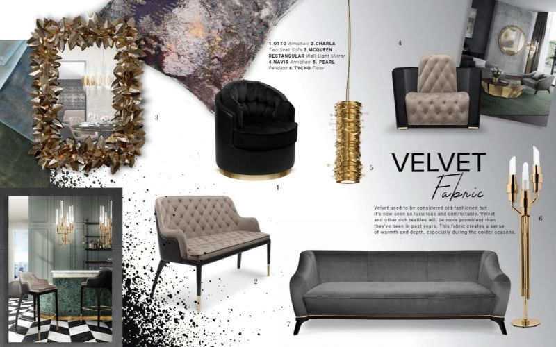 living room design Get Inspired by Top Living Room Design Trends velvet 1