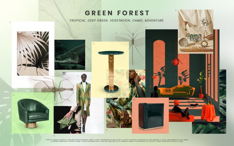 living room furniture Best Trends For Your Living Room Furniture moodboard trends 2019 green forest 2