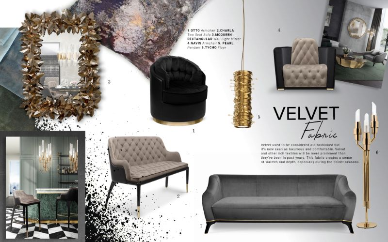 living room furniture Best Trends For Your Living Room Furniture moodboard trends 2019 velvet