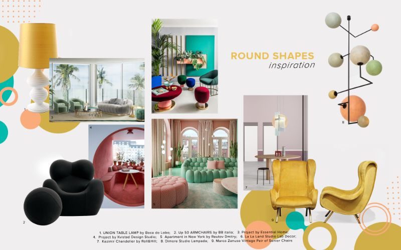 living room furniture Best Trends For Your Living Room Furniture moodboard trends 2020 curved shapes
