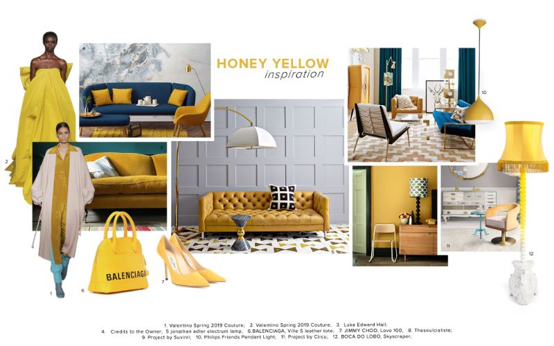 living room furniture Best Trends For Your Living Room Furniture moodboard trends 2020 honey yellow