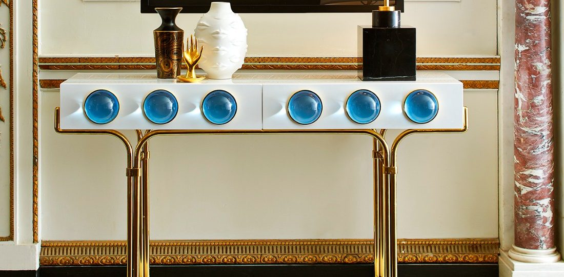 modern console tables Modern Console Tables Look At These Striking Gold And White Console Table Designs FT 1100x540